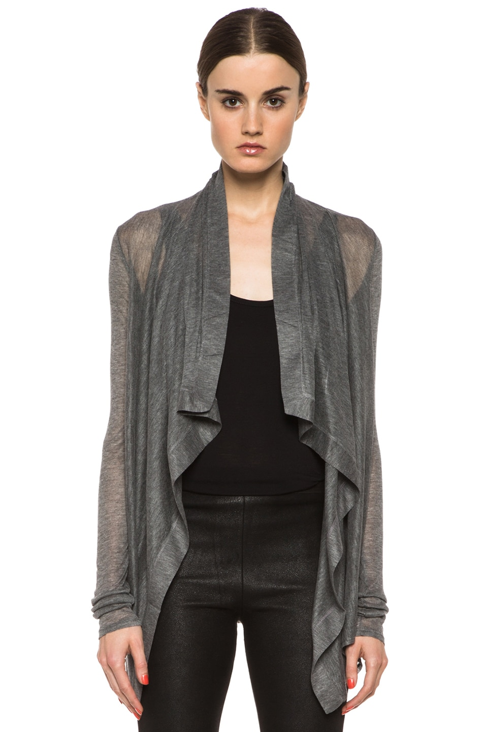 Image 1 of HELMUT Drape Front Cardigan in Heather Grey