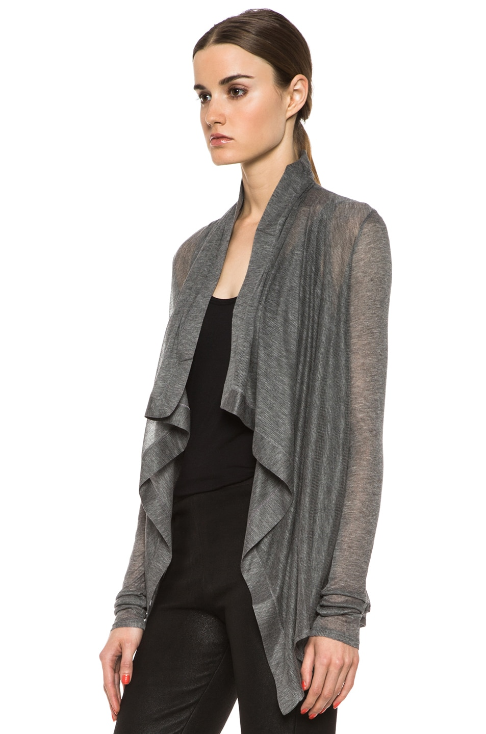 Image 2 of HELMUT Drape Front Cardigan in Heather Grey
