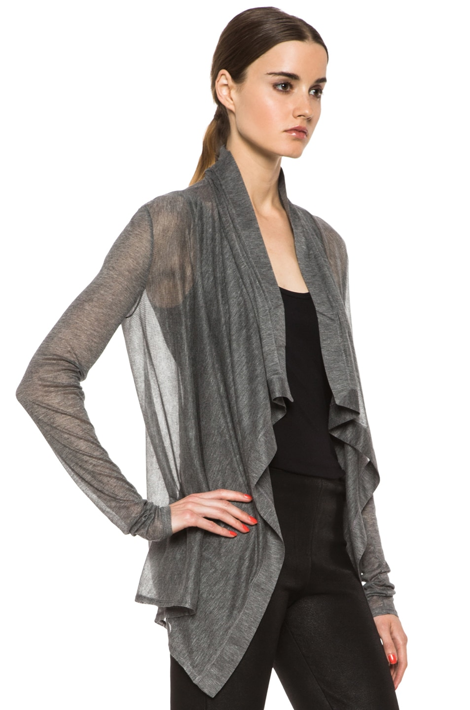 Image 3 of HELMUT Drape Front Cardigan in Heather Grey