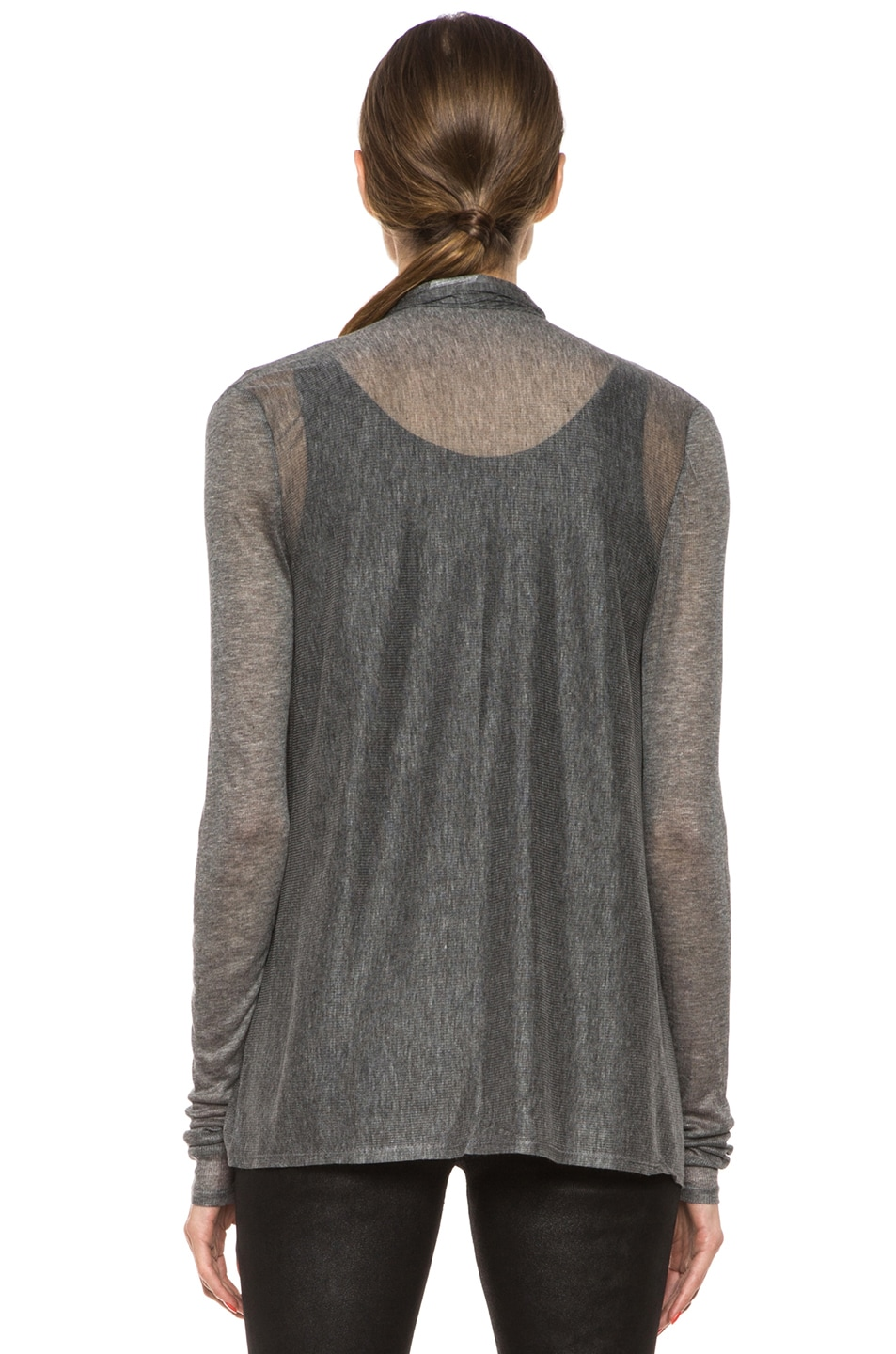 Image 4 of HELMUT Drape Front Cardigan in Heather Grey
