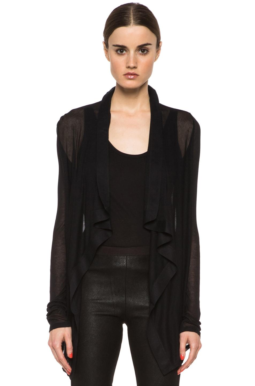 Image 1 of HELMUT Drape Front Micro Modal Cardigan in Black