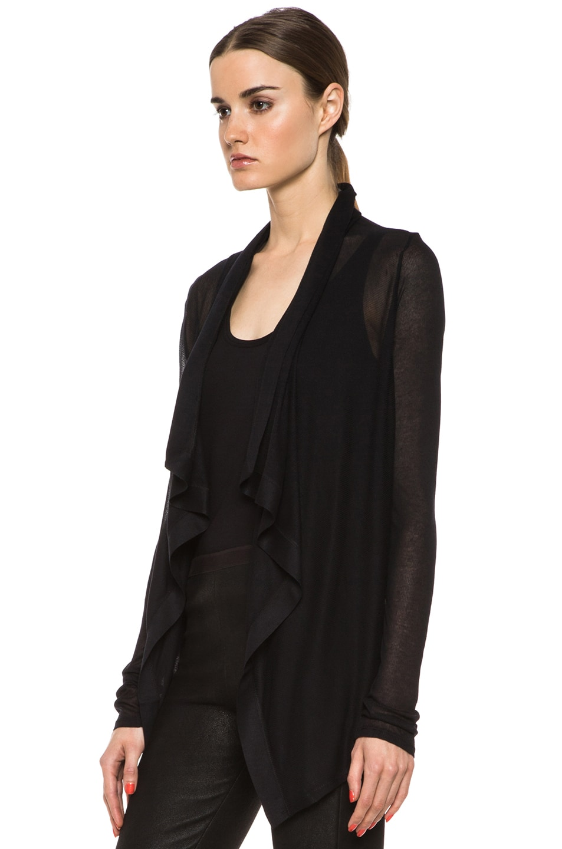 Image 2 of HELMUT Drape Front Micro Modal Cardigan in Black