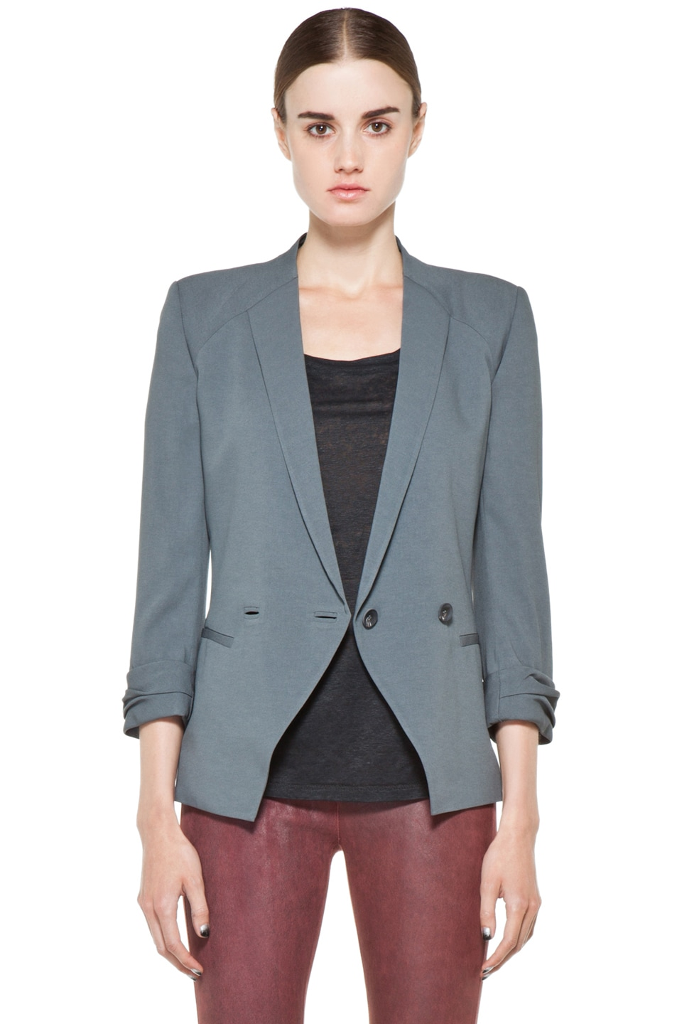 Image 2 of Helmut Lang Silica Crepe Roll Up Sleeve Blazer in Blue Smoke