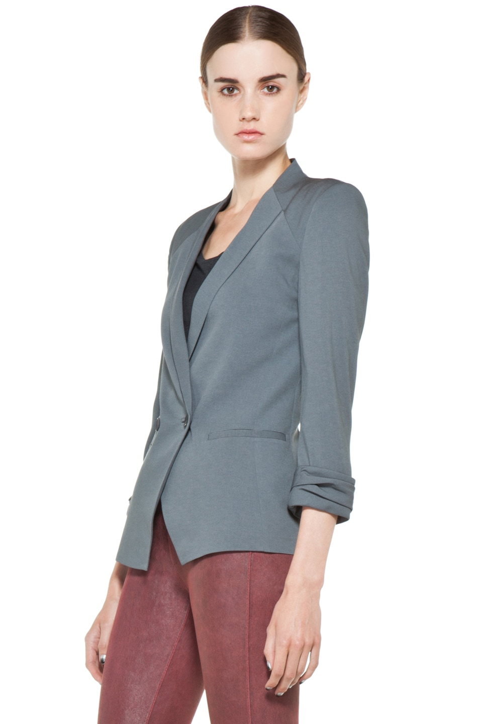 Image 3 of Helmut Lang Silica Crepe Roll Up Sleeve Blazer in Blue Smoke