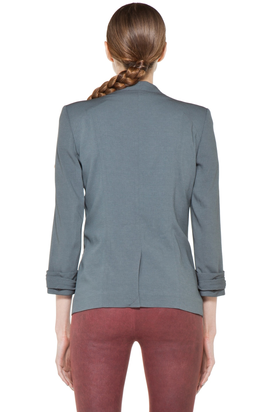 Image 5 of Helmut Lang Silica Crepe Roll Up Sleeve Blazer in Blue Smoke