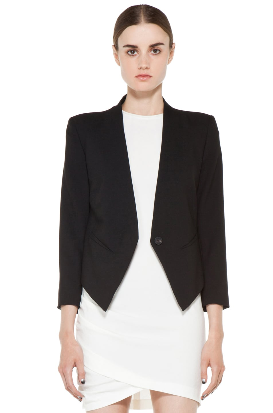 Image 1 of Helmut Lang Smoking Wool Tux Blazer in Black