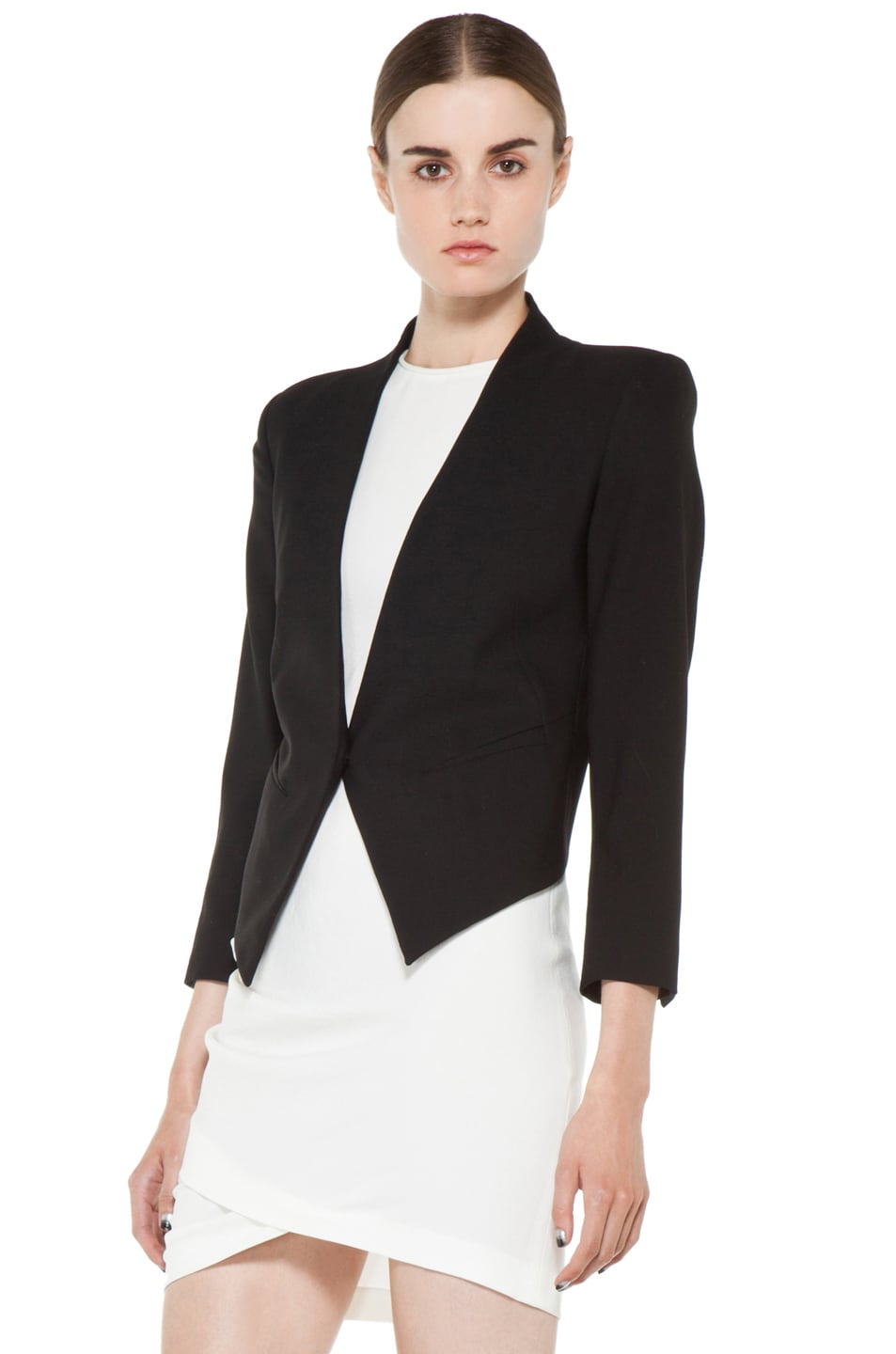Image 3 of Helmut Lang Smoking Wool Tux Blazer in Black