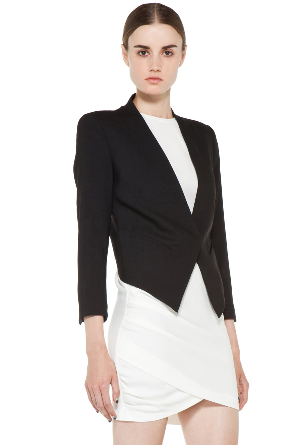 Image 4 of Helmut Lang Smoking Wool Tux Blazer in Black