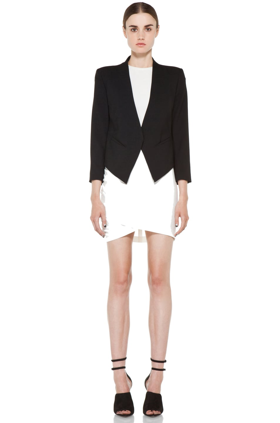 Image 6 of Helmut Lang Smoking Wool Tux Blazer in Black