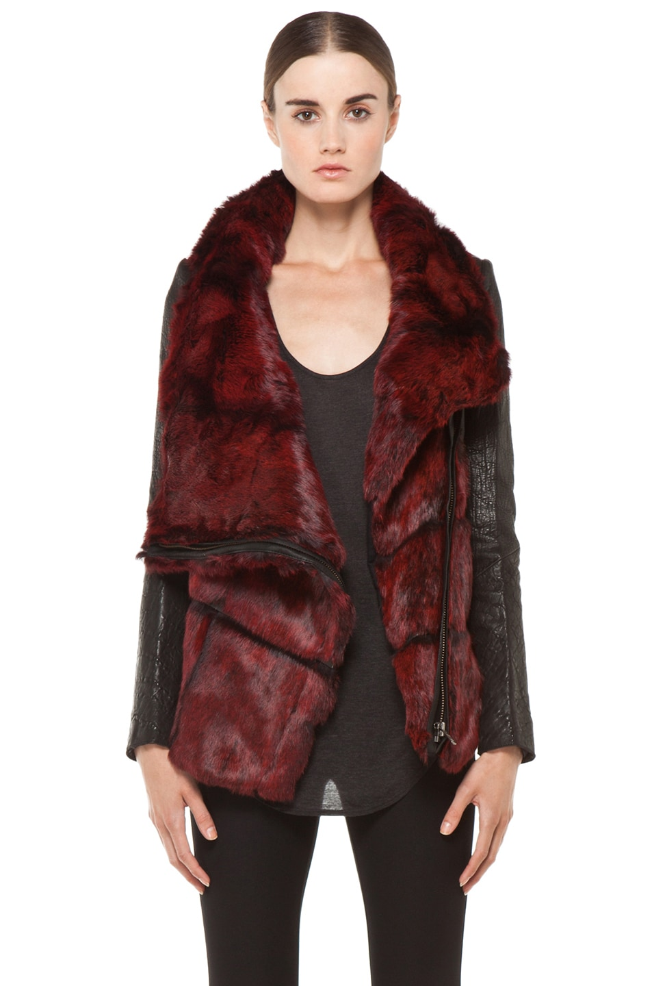 Image 1 of Helmut Lang Spanish Flux Fur Jacket in Black