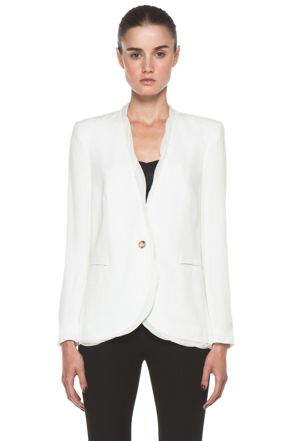Image 2 of Helmut Lang Relic Twist Viscose Blazer in Soft White