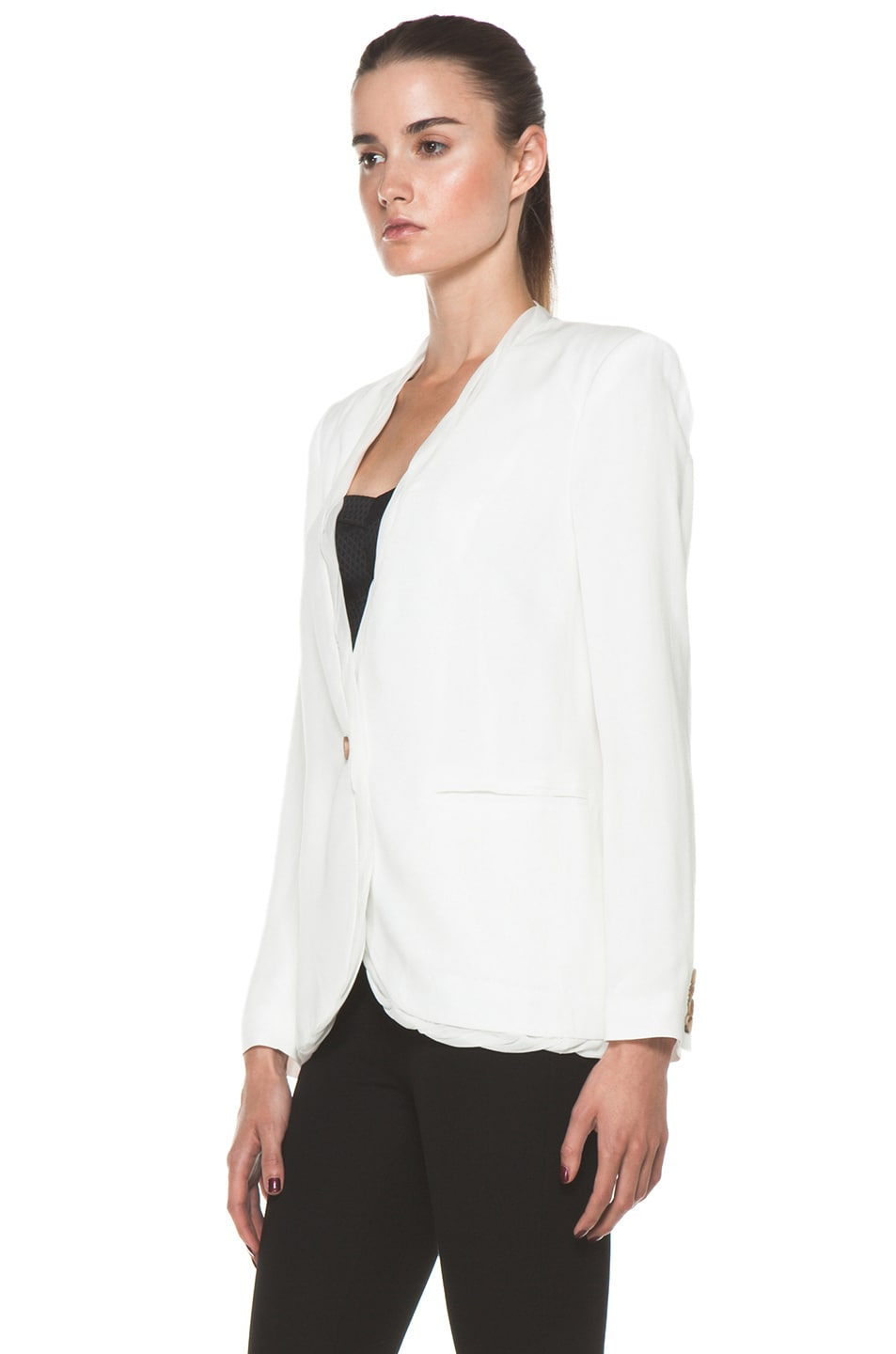 Image 3 of Helmut Lang Relic Twist Viscose Blazer in Soft White