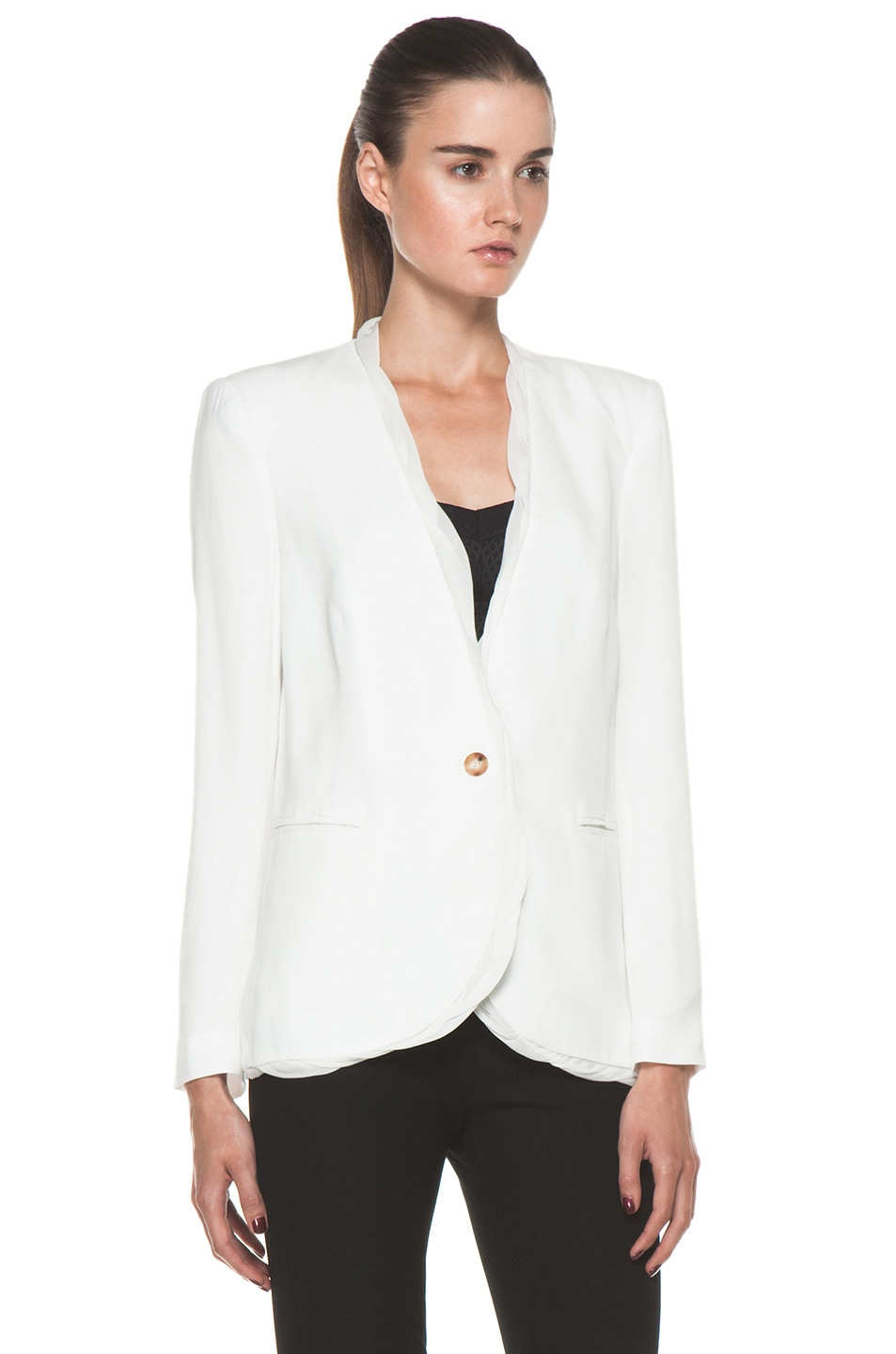 Image 4 of Helmut Lang Relic Twist Viscose Blazer in Soft White