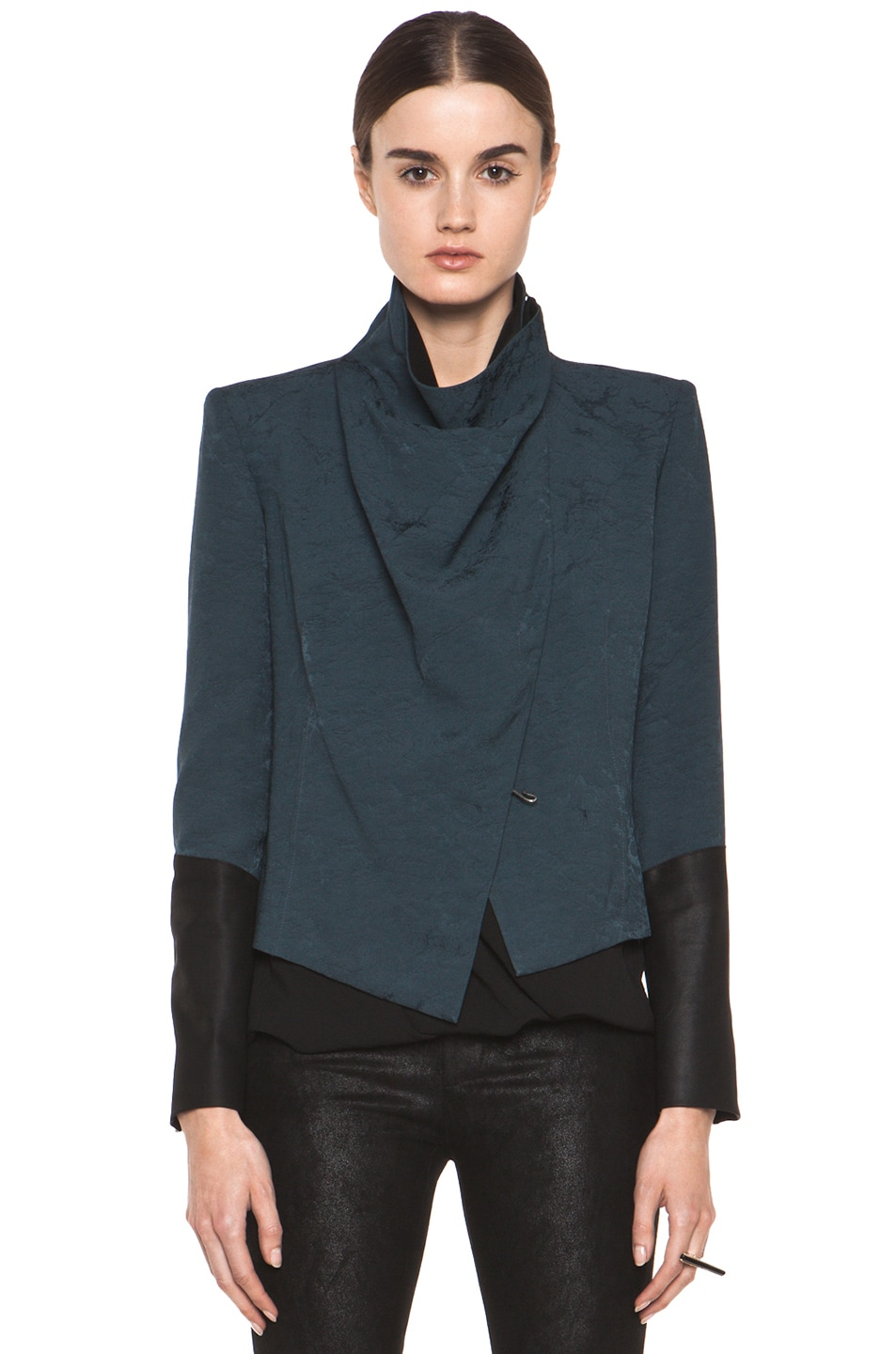 Image 2 of Helmut Lang Perma Jacquard Sleeve Combo Jacket in Dusty Sapphire