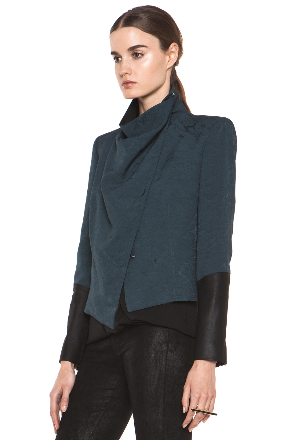 Image 3 of Helmut Lang Perma Jacquard Sleeve Combo Jacket in Dusty Sapphire