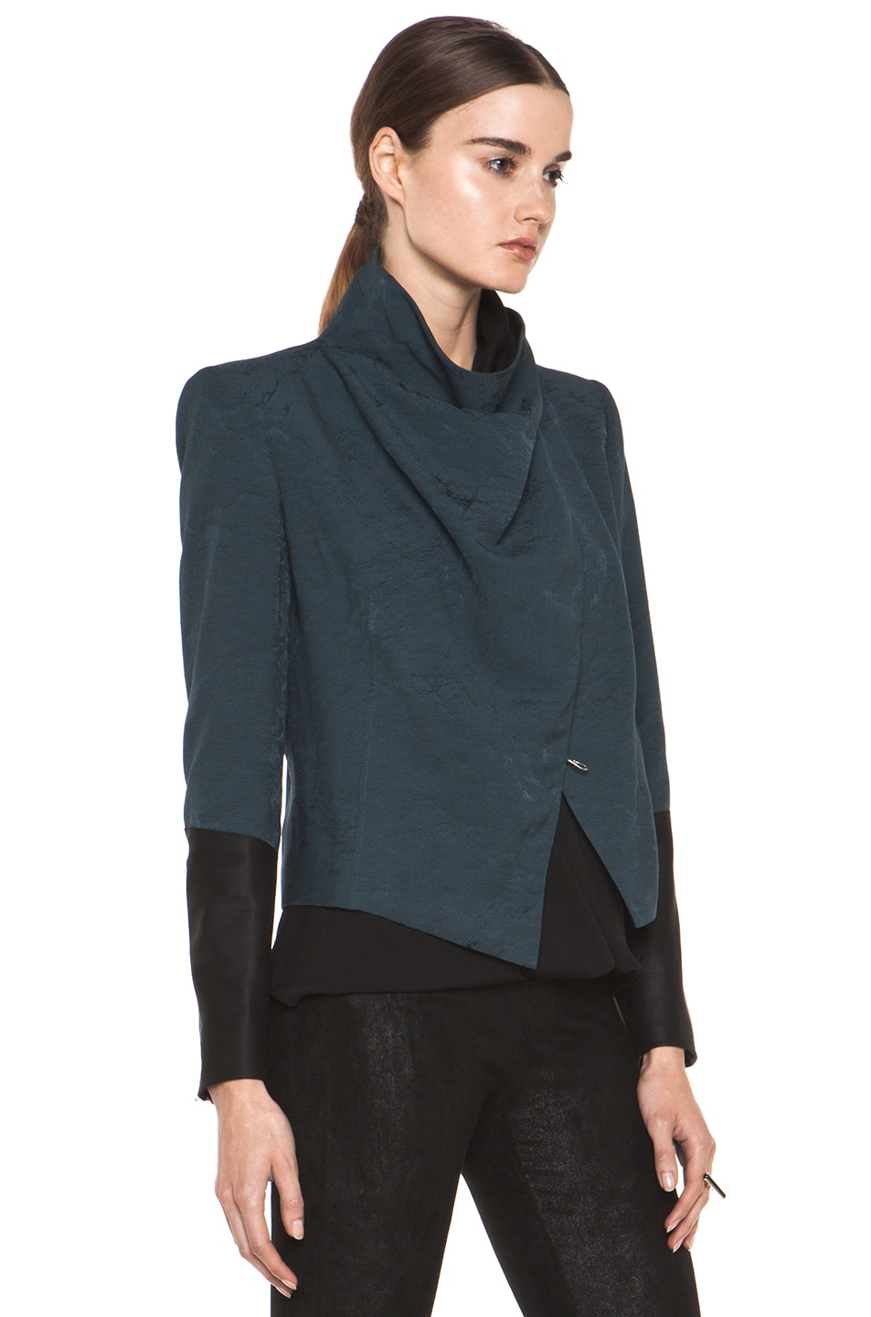 Image 4 of Helmut Lang Perma Jacquard Sleeve Combo Jacket in Dusty Sapphire