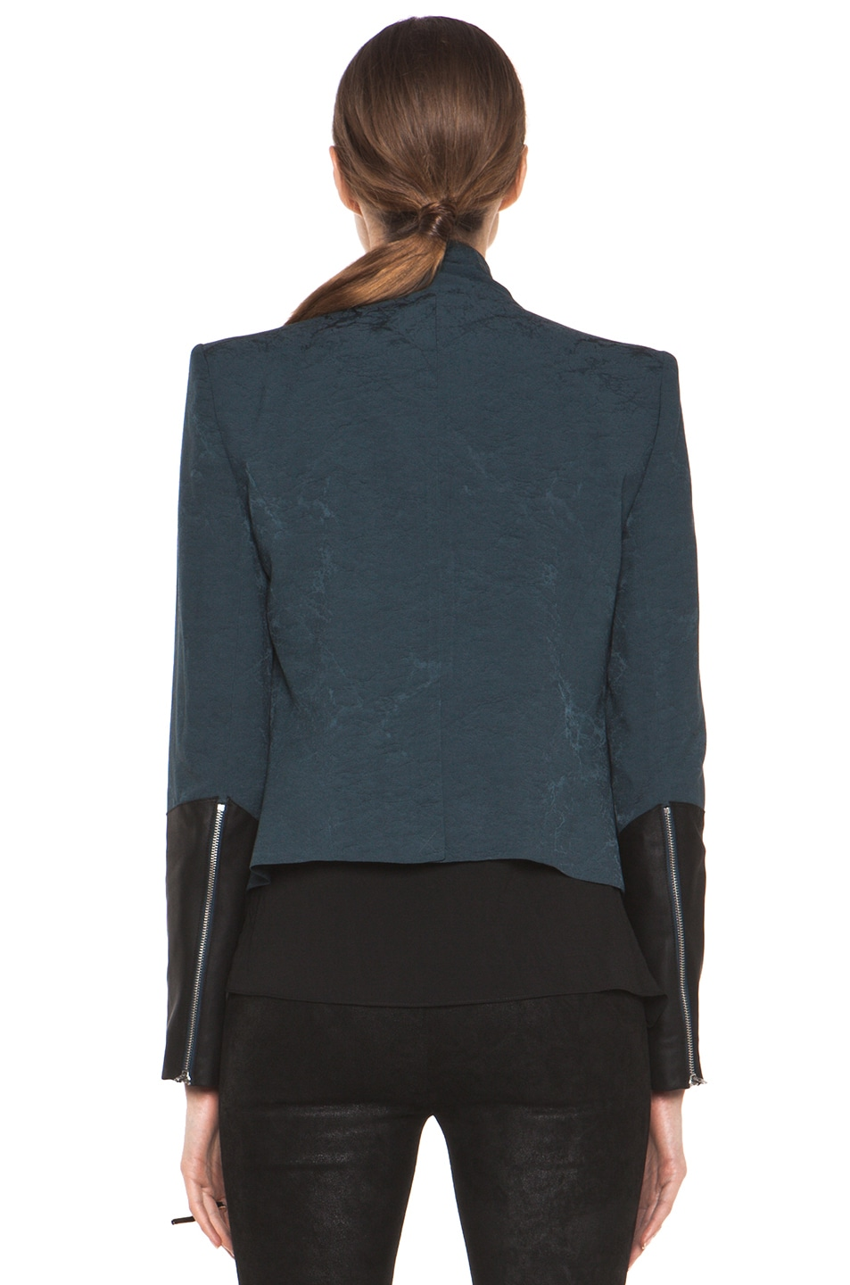 Image 5 of Helmut Lang Perma Jacquard Sleeve Combo Jacket in Dusty Sapphire
