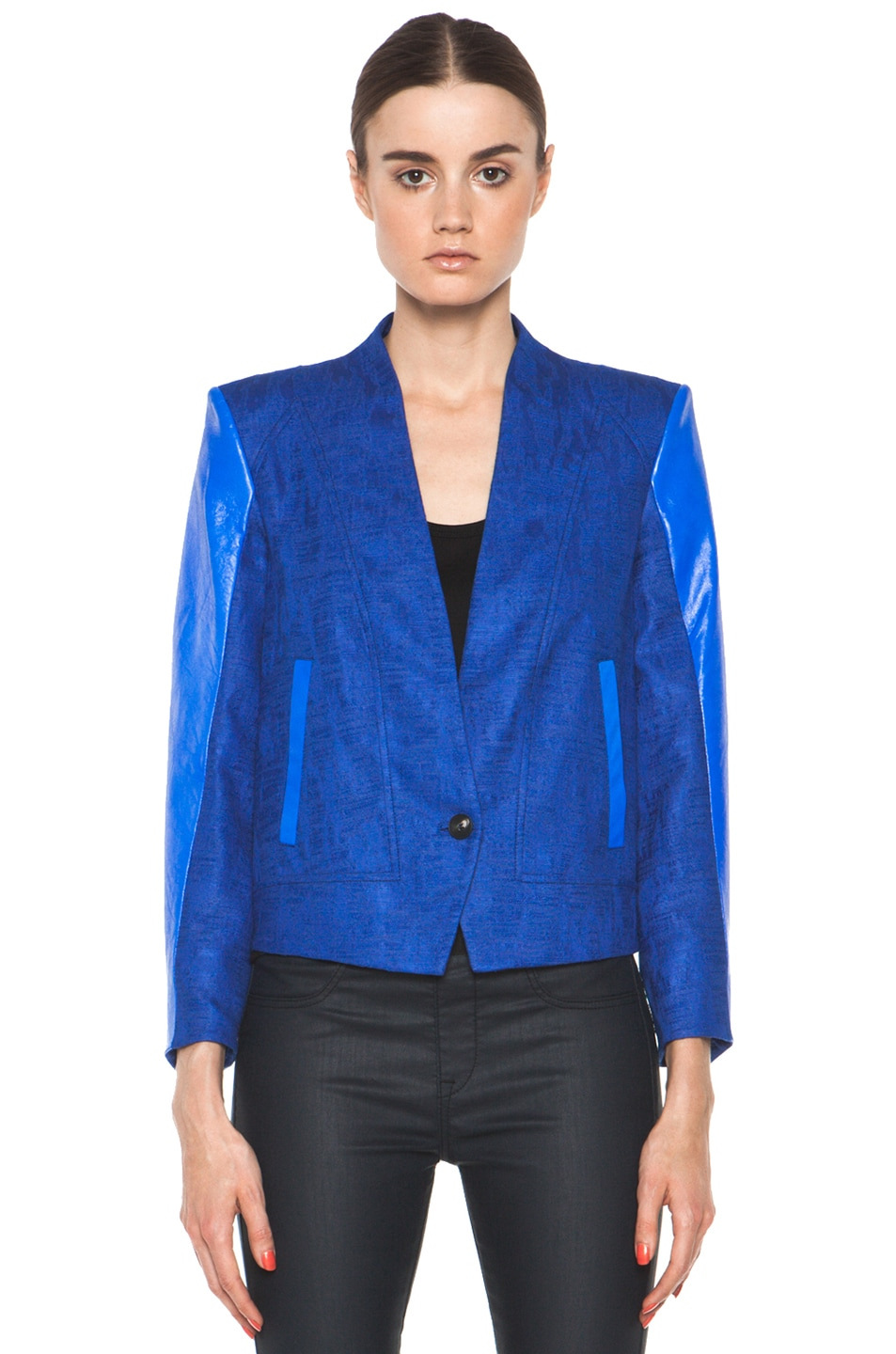 Image 2 of Helmut Lang Cropped Jacket in Maritime