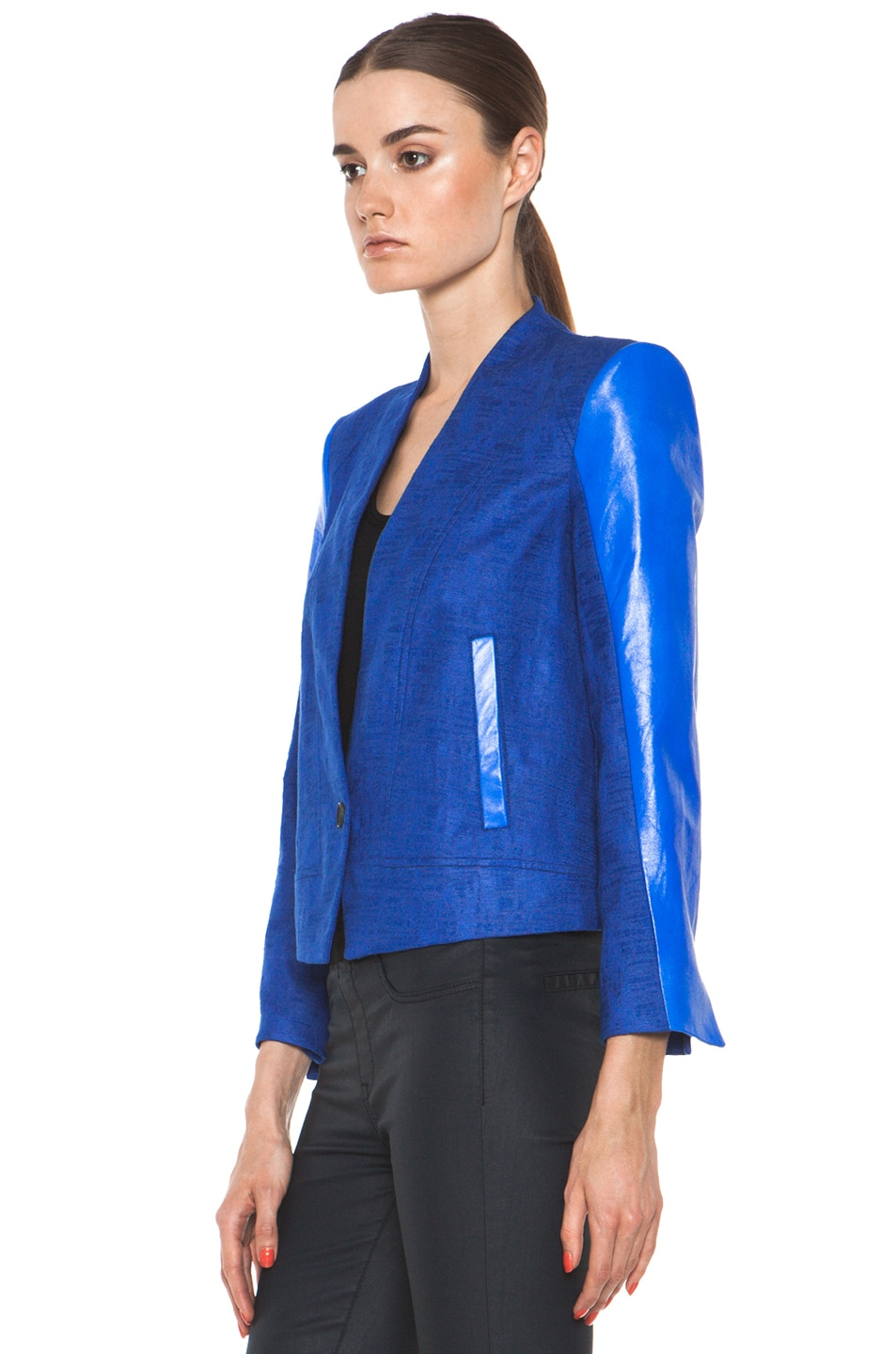 Image 3 of Helmut Lang Cropped Jacket in Maritime