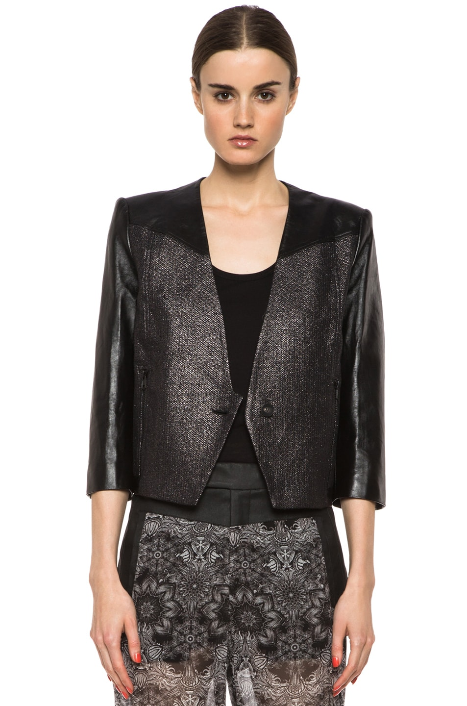 Image 1 of Helmut Lang Shy Cotton-Blend & Leather Jacket in Old Silver