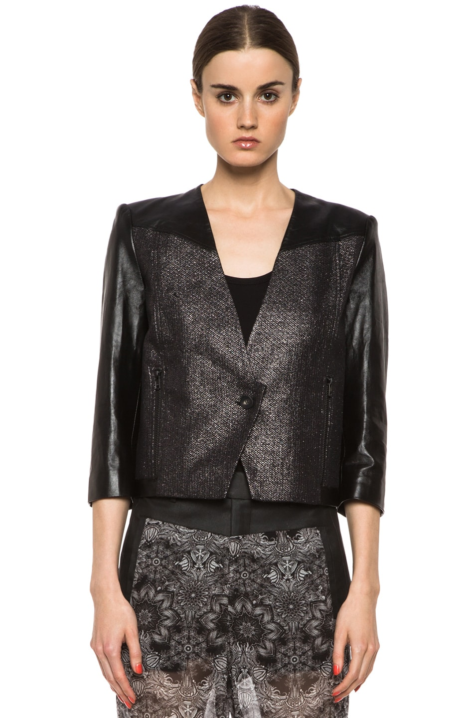 Image 2 of Helmut Lang Shy Cotton-Blend & Leather Jacket in Old Silver