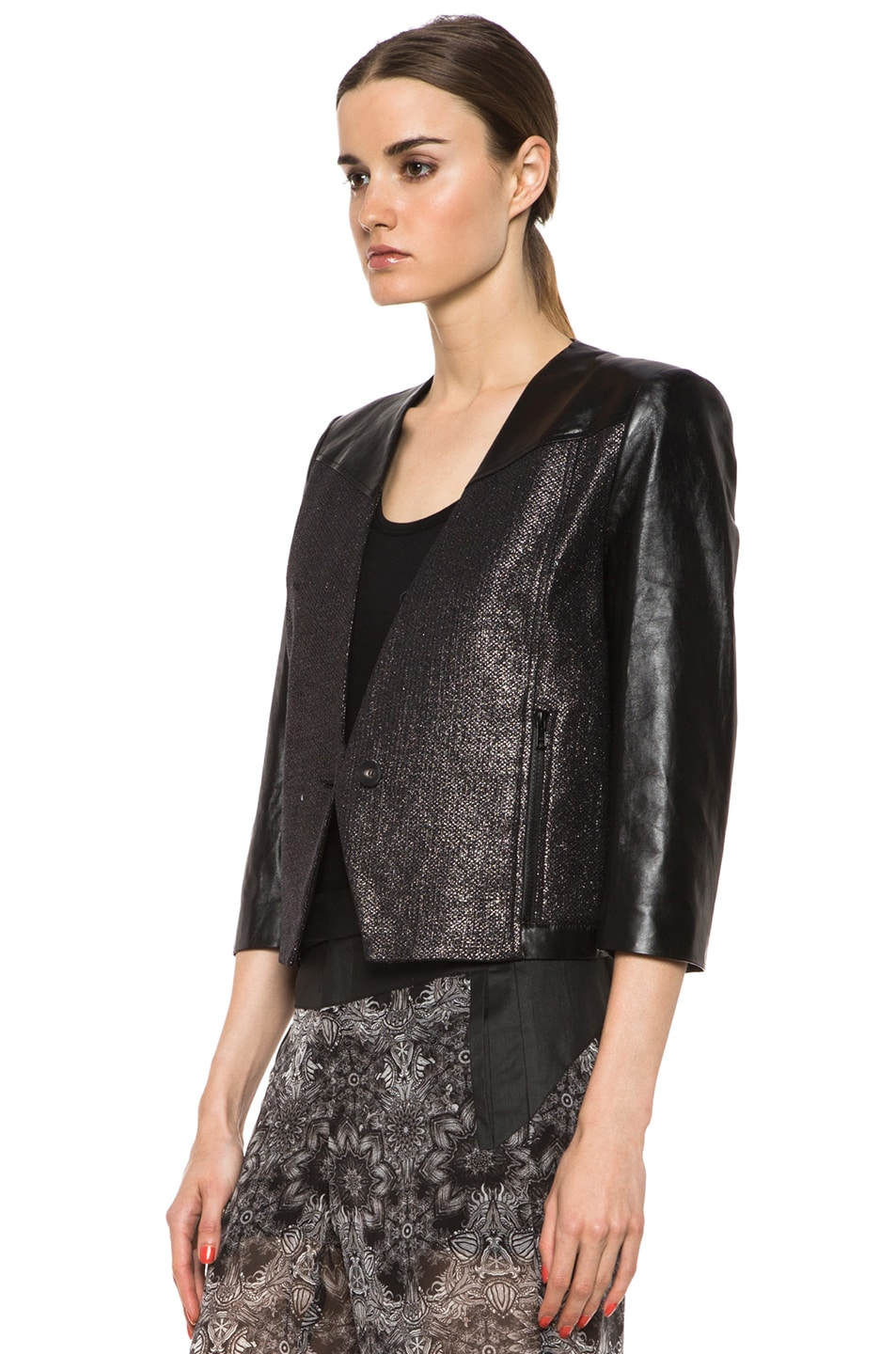 Image 3 of Helmut Lang Shy Cotton-Blend & Leather Jacket in Old Silver