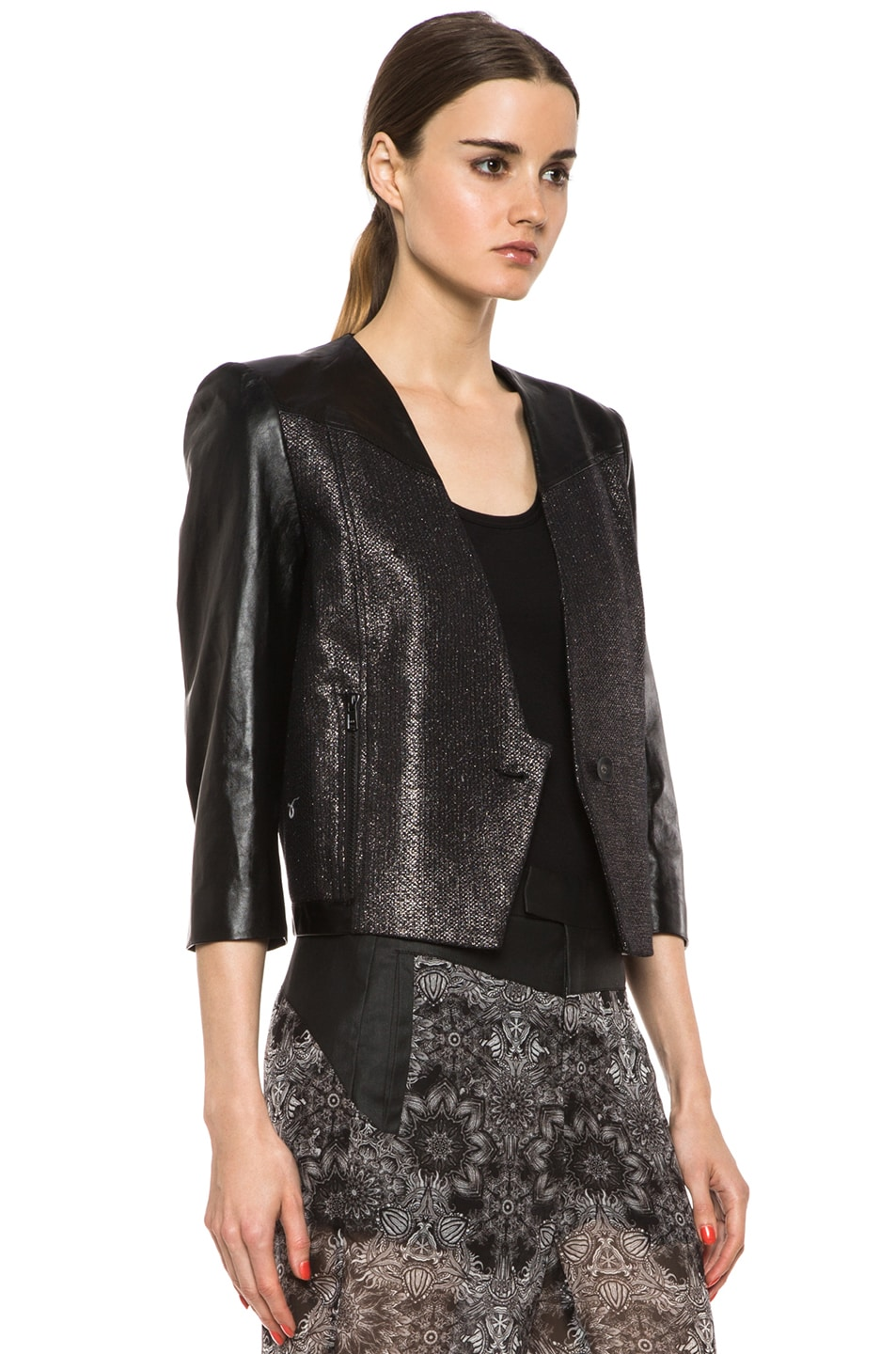Image 4 of Helmut Lang Shy Cotton-Blend & Leather Jacket in Old Silver