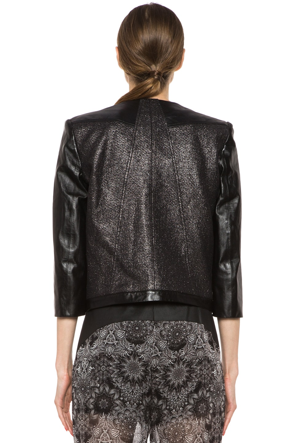 Image 5 of Helmut Lang Shy Cotton-Blend & Leather Jacket in Old Silver