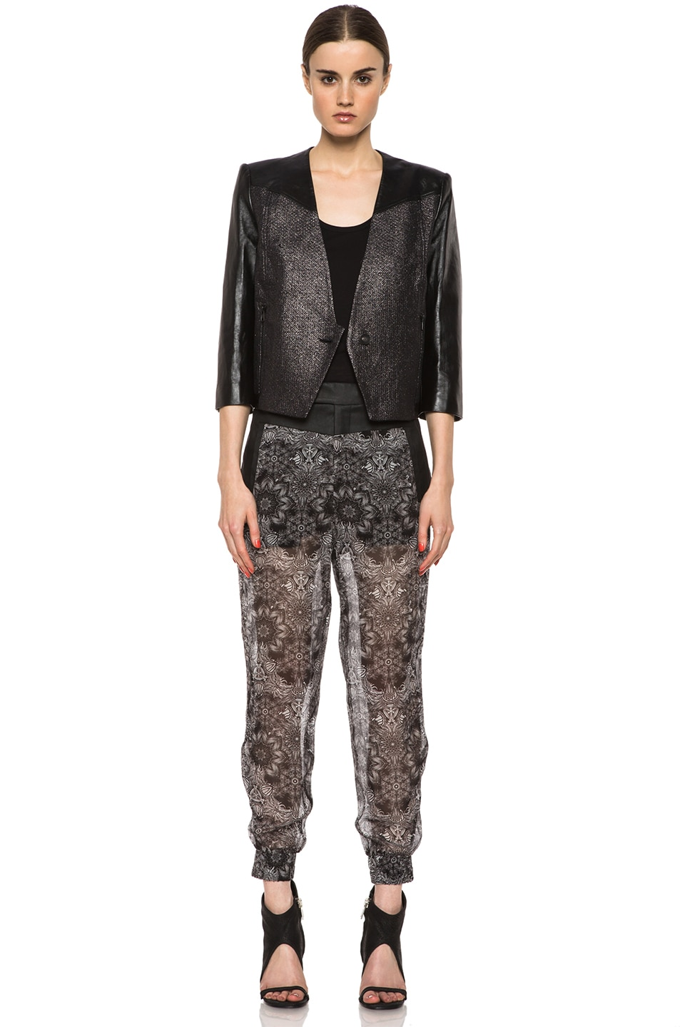 Image 6 of Helmut Lang Shy Cotton-Blend & Leather Jacket in Old Silver