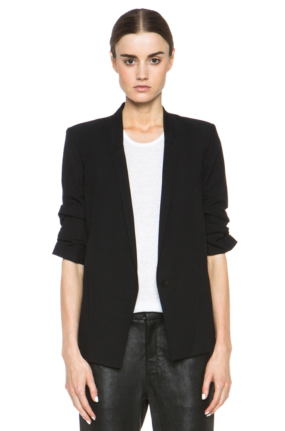 Image 1 of HELMUT Helmut Lang Slouchy Suiting Scrunched Sleeve Blazer in Black