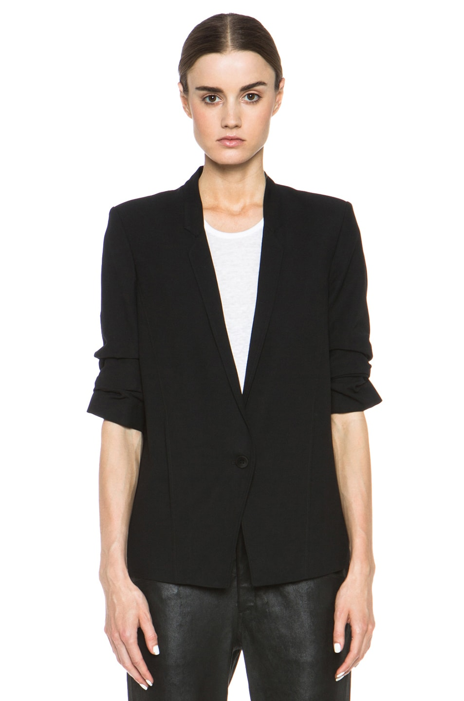 Image 2 of HELMUT Helmut Lang Slouchy Suiting Scrunched Sleeve Blazer in Black