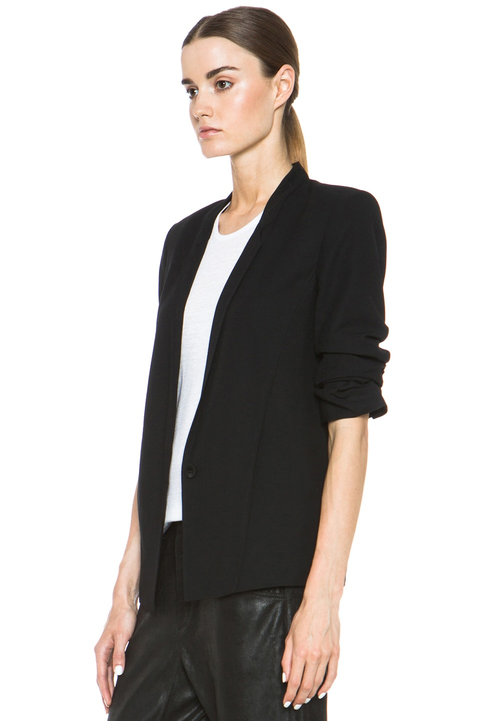 Image 3 of HELMUT Helmut Lang Slouchy Suiting Scrunched Sleeve Blazer in Black