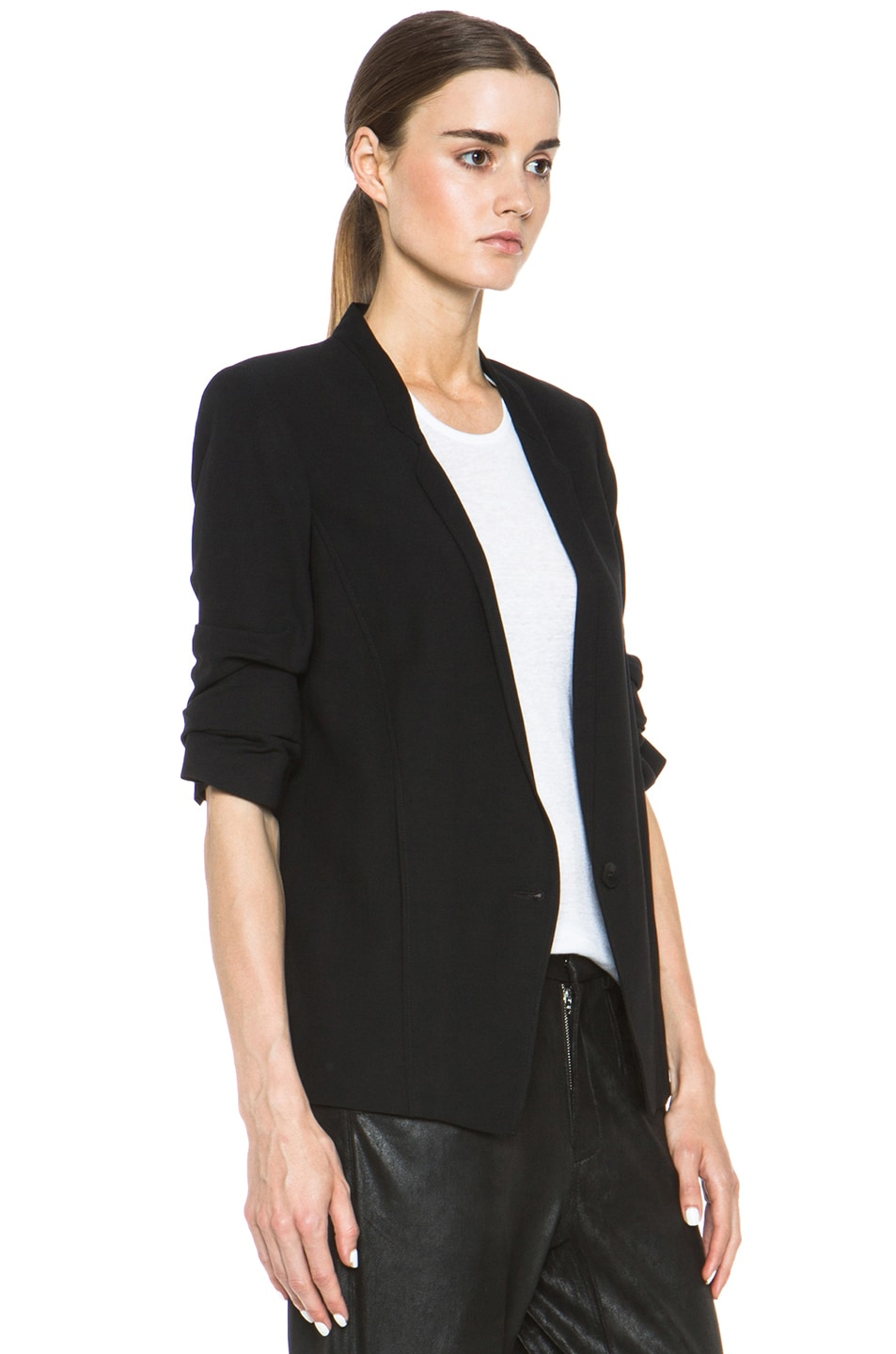 Image 4 of HELMUT Helmut Lang Slouchy Suiting Scrunched Sleeve Blazer in Black