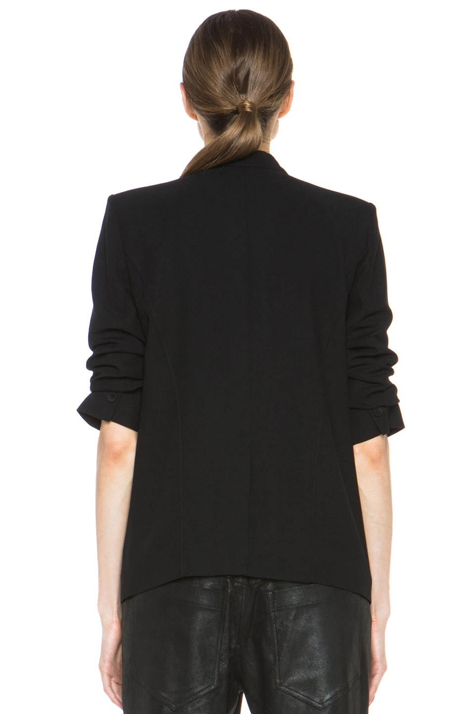 Image 5 of HELMUT Helmut Lang Slouchy Suiting Scrunched Sleeve Blazer in Black