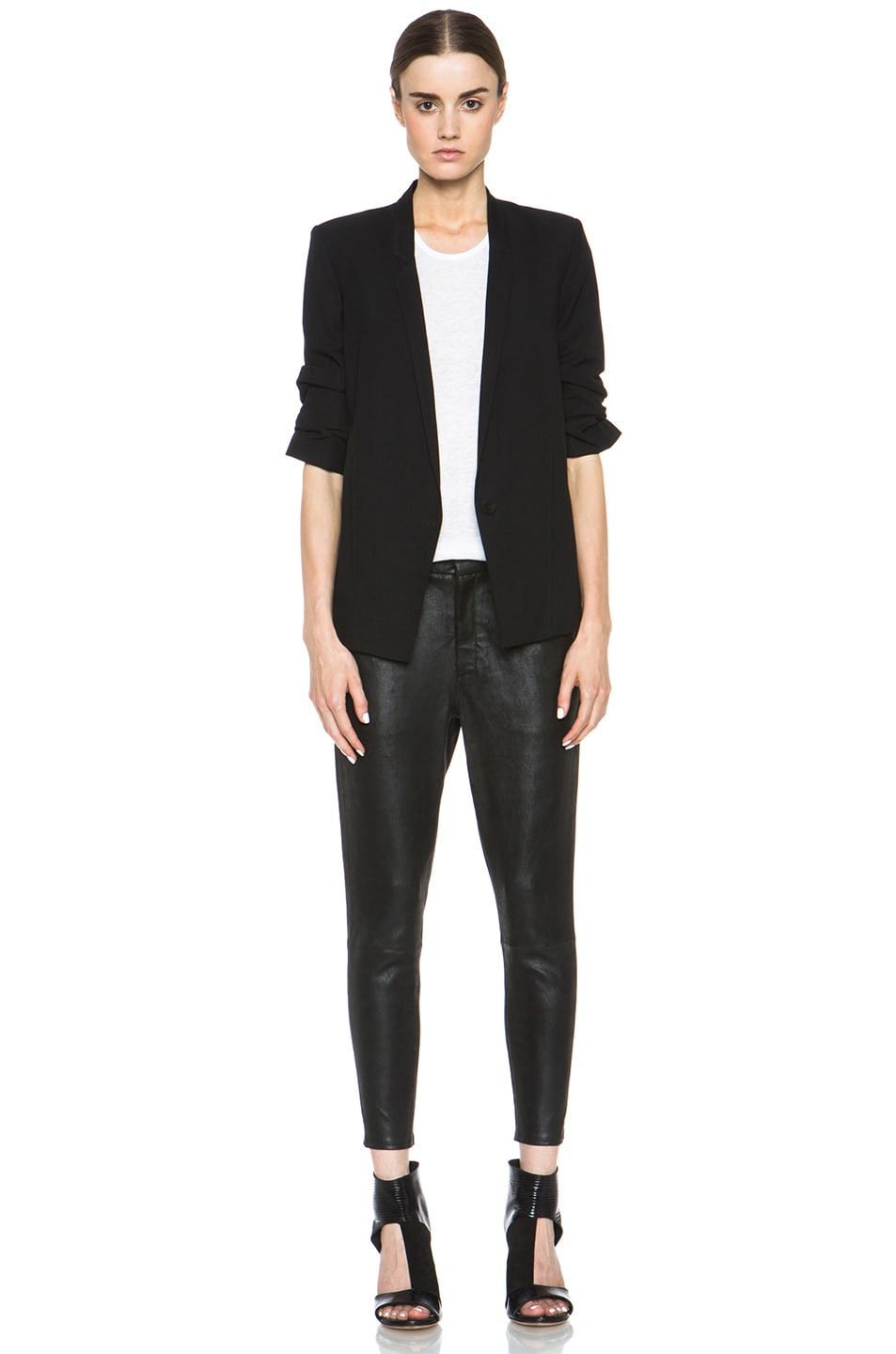 Image 6 of HELMUT Helmut Lang Slouchy Suiting Scrunched Sleeve Blazer in Black