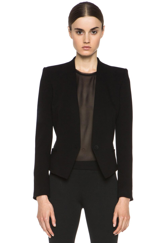 Image 1 of HELMUT Helmut Lang Gala Viscose-Blend Crop Tux Blazer in Black