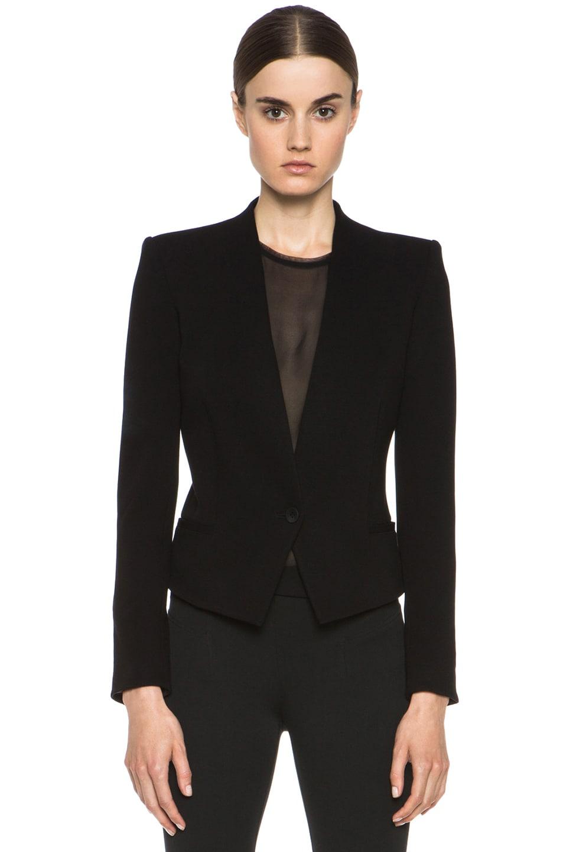 Image 2 of HELMUT Helmut Lang Gala Viscose-Blend Crop Tux Blazer in Black