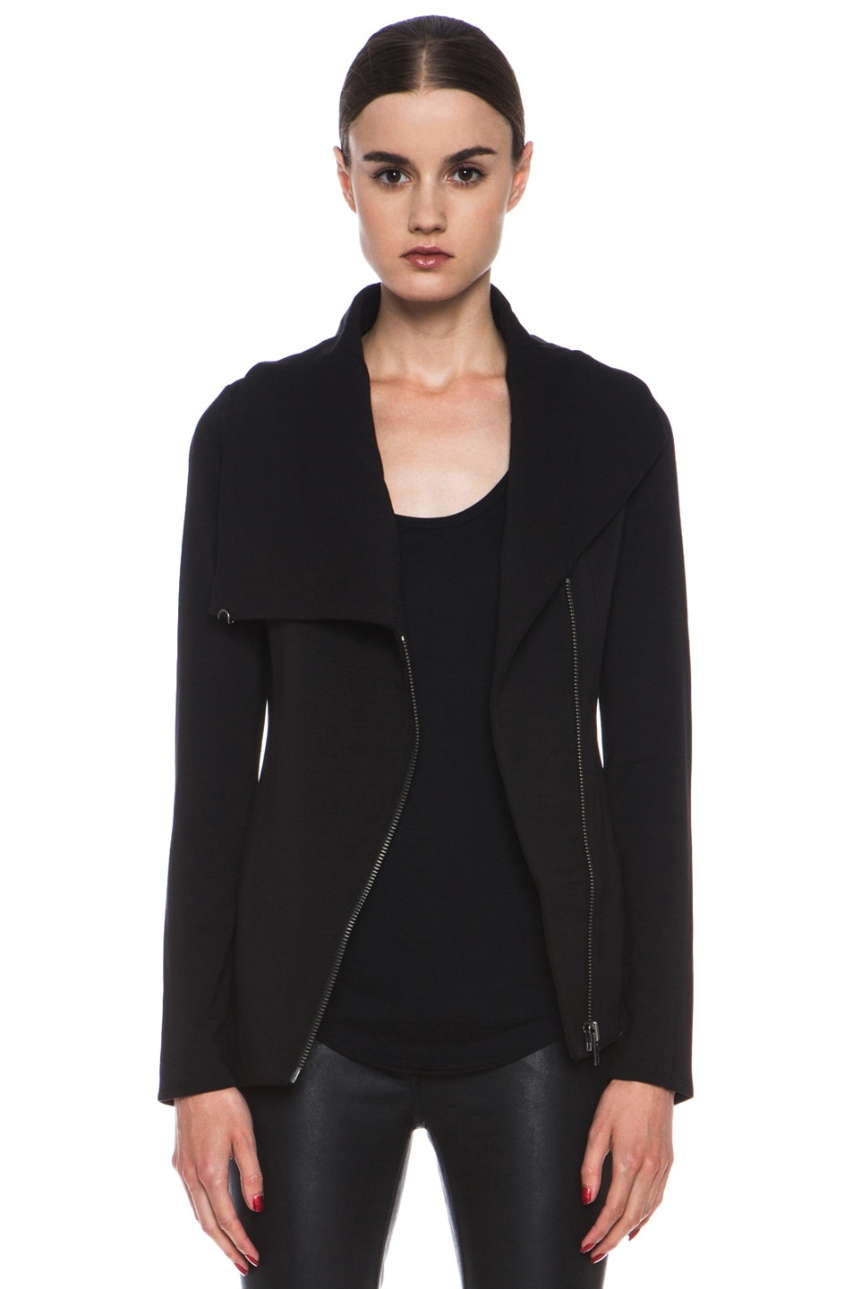 Image 1 of HELMUT Helmut Lang Villus Zip Up Sweatshirt Jacket in Black