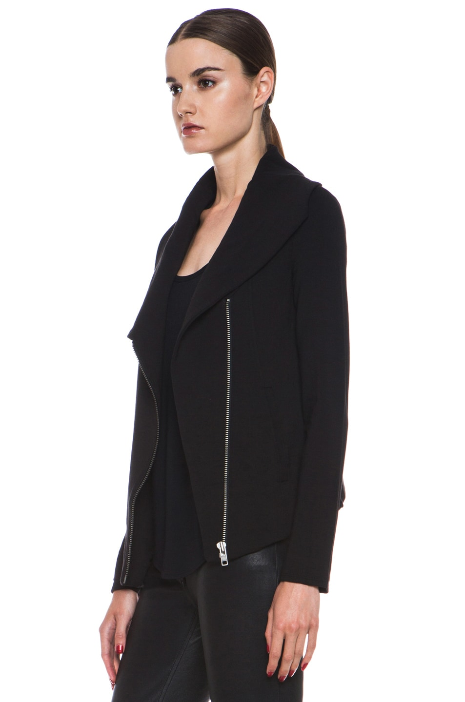 Image 3 of HELMUT Helmut Lang Villus Zip Up Sweatshirt Jacket in Black