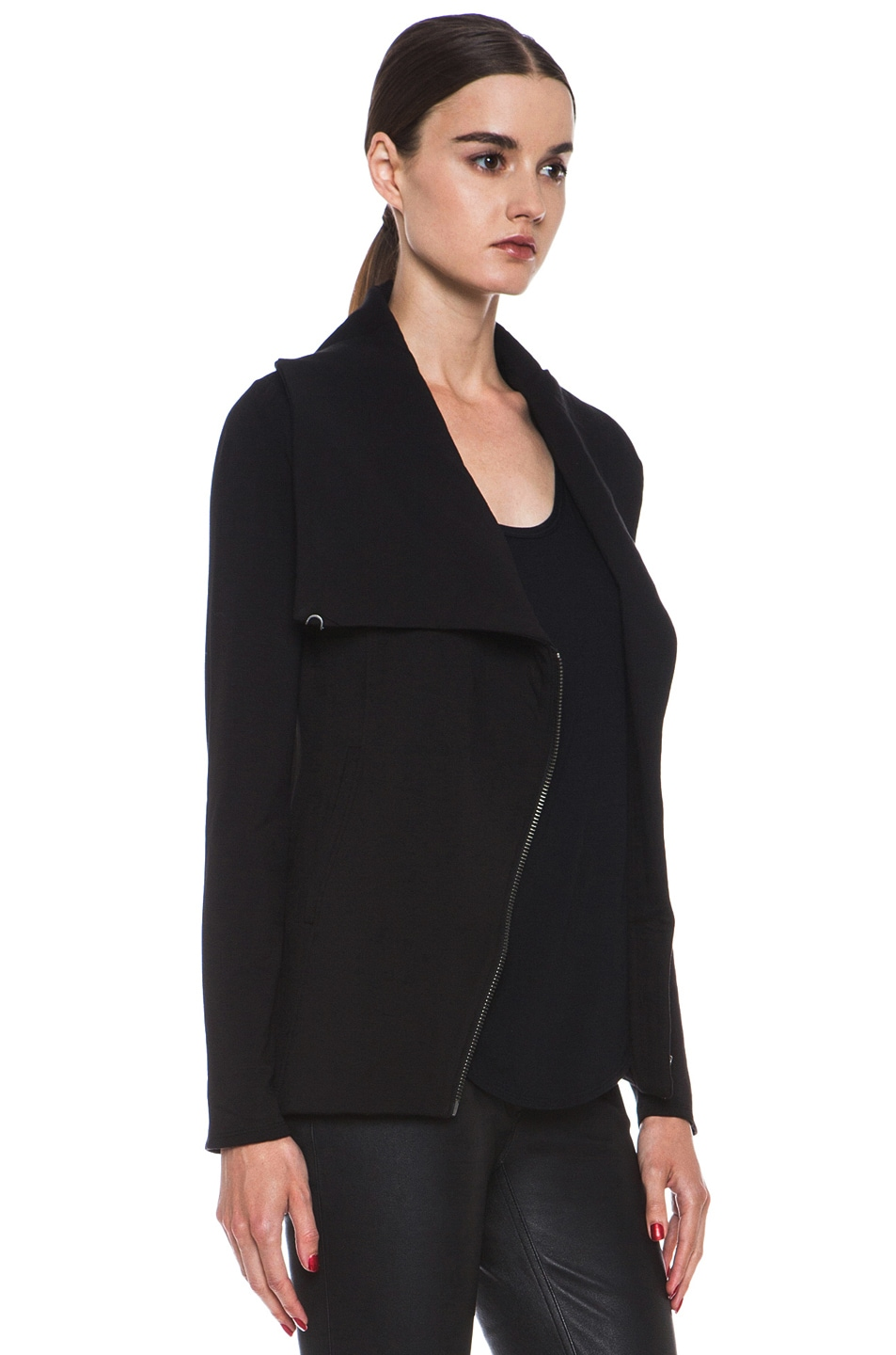 Image 4 of HELMUT Helmut Lang Villus Zip Up Sweatshirt Jacket in Black