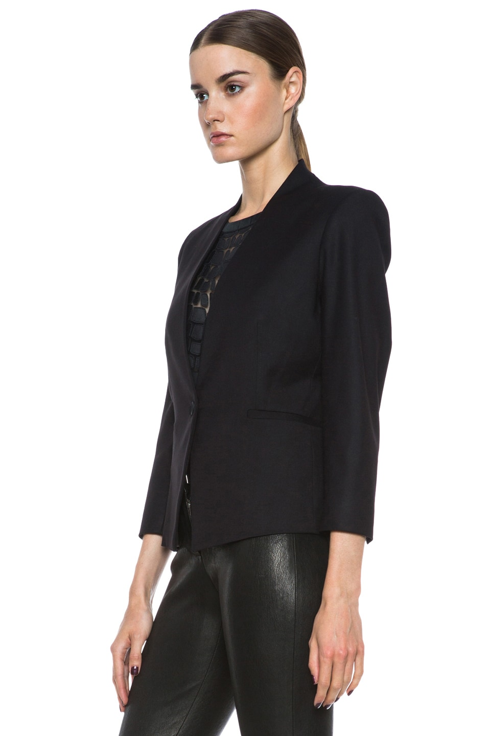 Image 3 of HELMUT Reflect 3/4 Sleeve Poly-Blend Blazer in Black