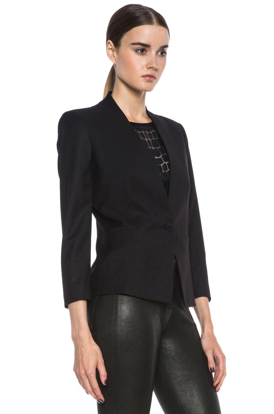 Image 4 of HELMUT Reflect 3/4 Sleeve Poly-Blend Blazer in Black