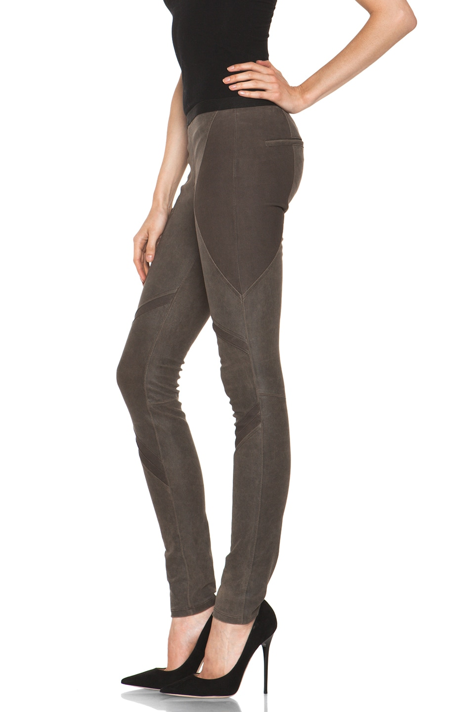Image 2 of Helmut Lang Patina Stretch Cheyenne Leather Armor Legging in Deer