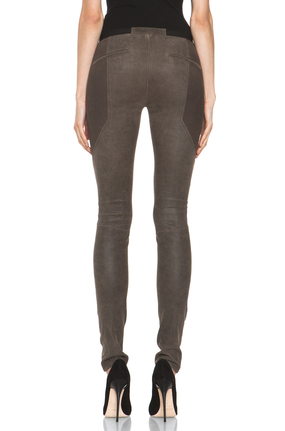 Image 4 of Helmut Lang Patina Stretch Cheyenne Leather Armor Legging in Deer