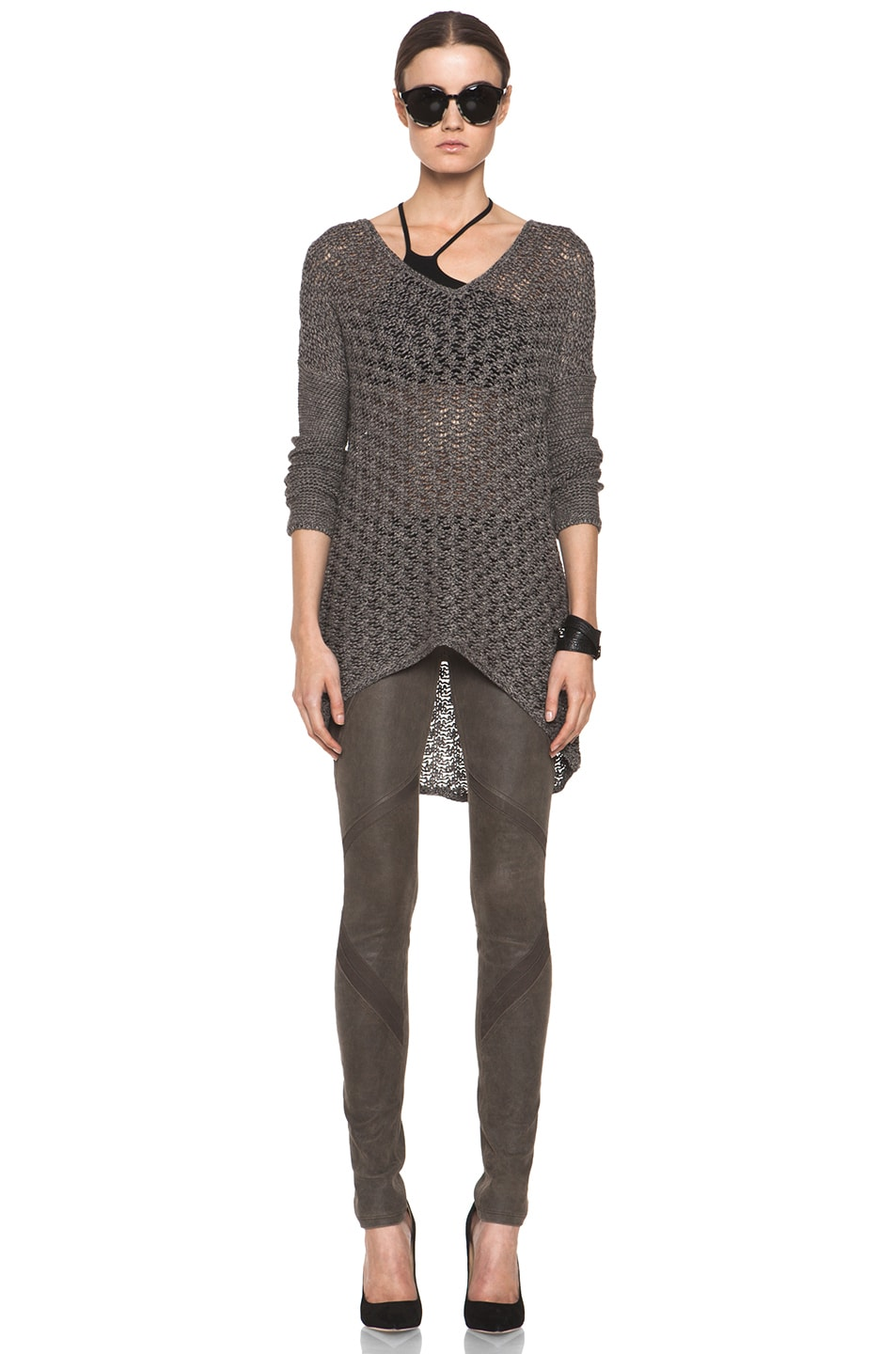 Image 5 of Helmut Lang Patina Stretch Cheyenne Leather Armor Legging in Deer