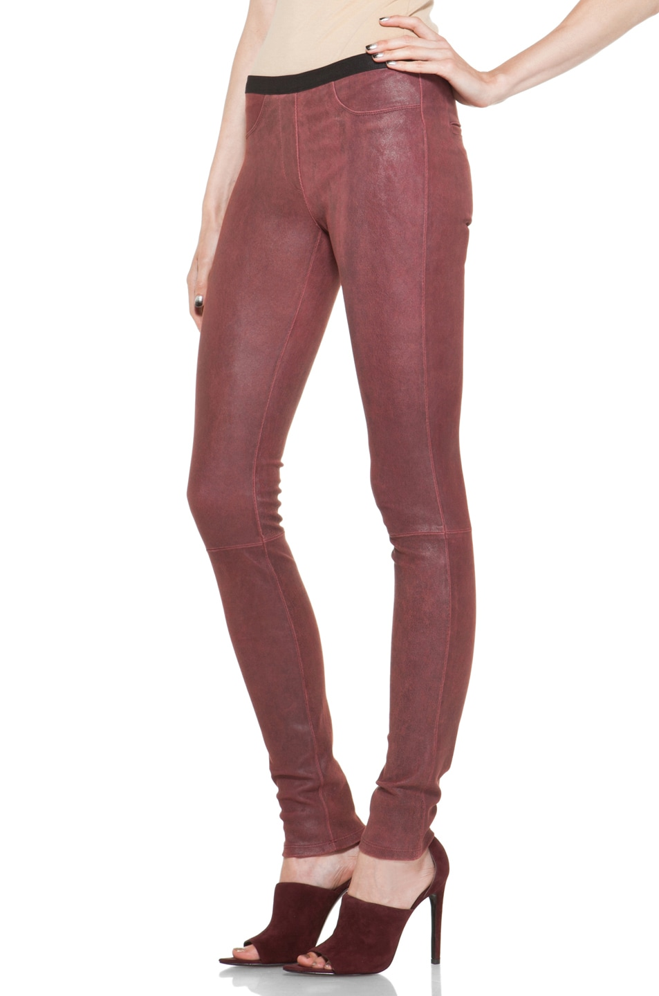 Image 2 of Helmut Lang Patina Stretch Cheyenne Leather Legging in Fever