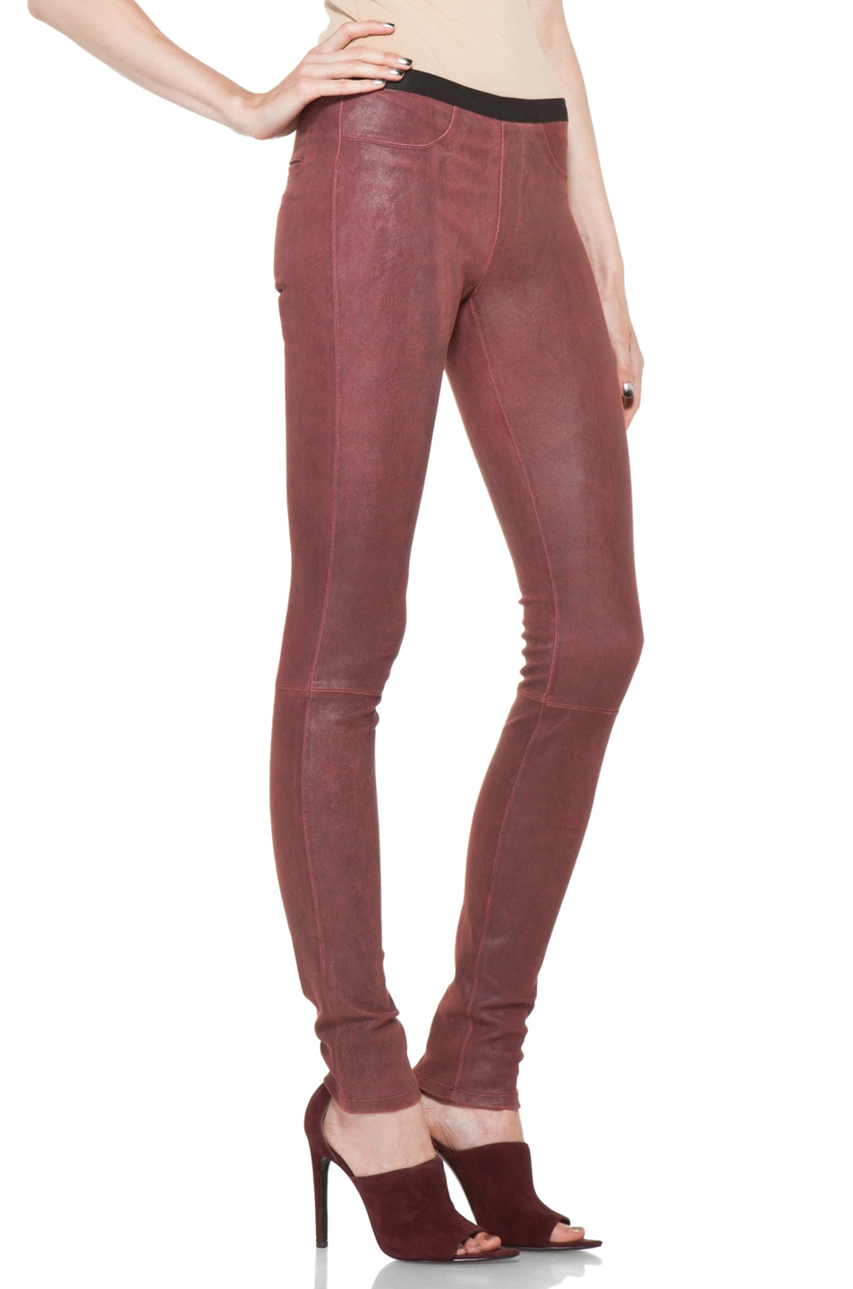 Image 3 of Helmut Lang Patina Stretch Cheyenne Leather Legging in Fever