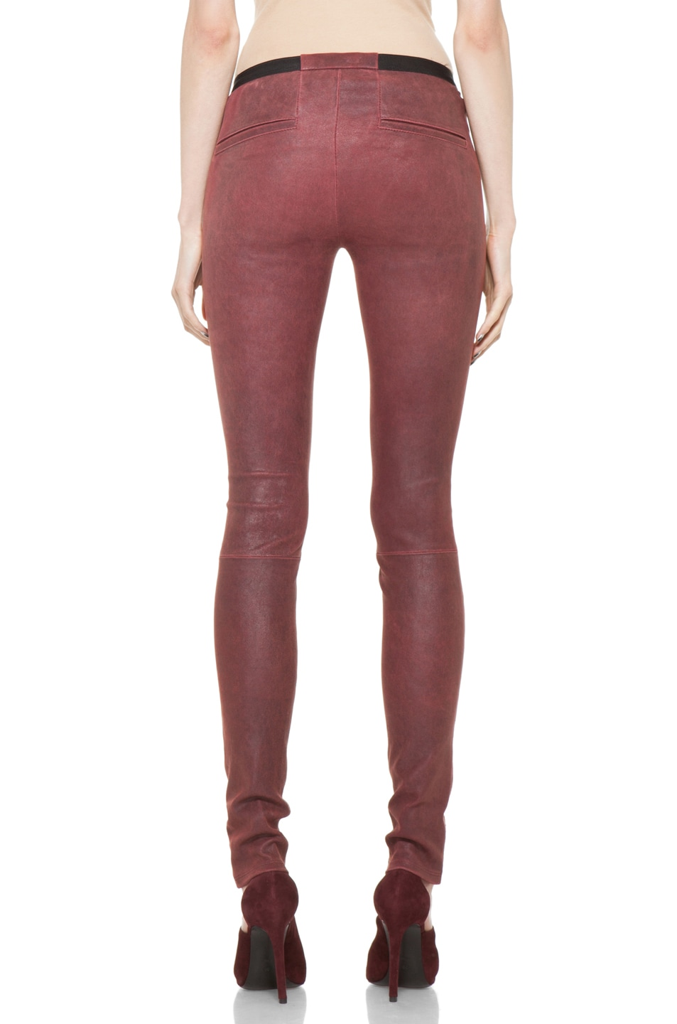 Image 4 of Helmut Lang Patina Stretch Cheyenne Leather Legging in Fever