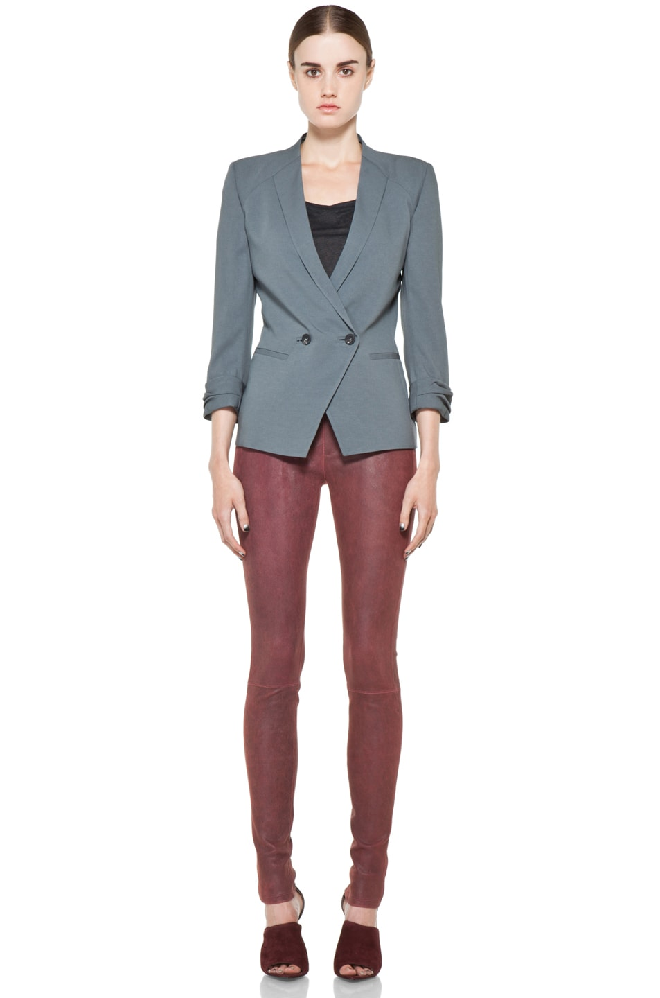 Image 5 of Helmut Lang Patina Stretch Cheyenne Leather Legging in Fever