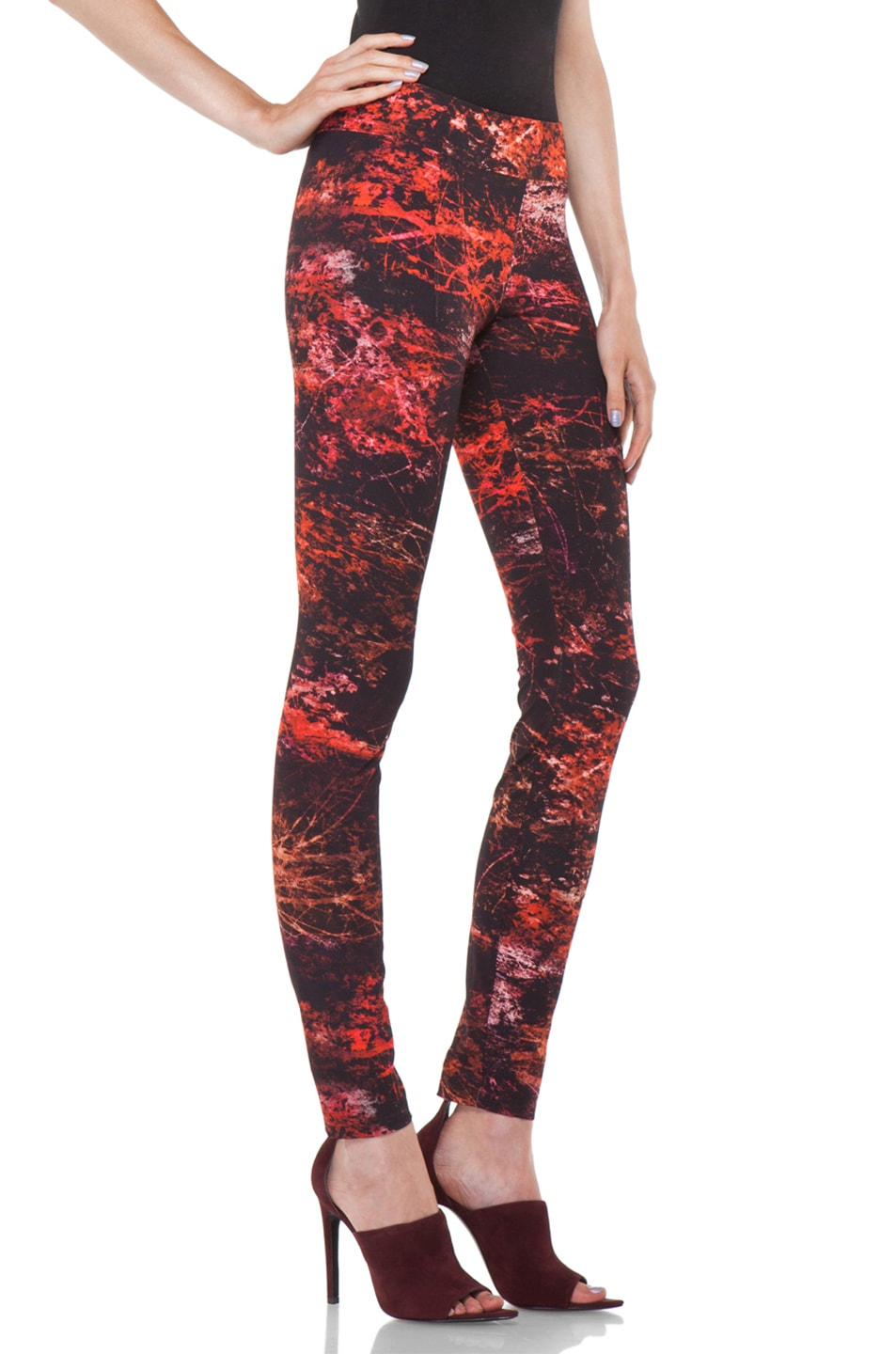 Image 3 of Helmut Lang Midnight Floral Reflex Legging in Red Multi